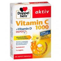 Витамин C 1000 + витамин D 800 ME DOPPELHERZ aktiv Vitamin C 1000+Vitamin D Depot 30 шт DoppelHerz