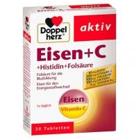 Витамин C с железом DOPPELHERZ Eisen+Vit.C+L-Histidin Tabletten 30 шт DoppelHerz