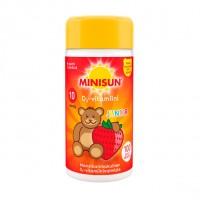 Жевательные таблетки с витамином Д для детей с клубничным вкусом мишка JUNIOR 10 мкг 100 шт Minisun
