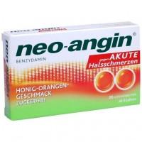 Препарат с медом при остром воспалении горла NEO ANGIN Benzydamin akute Halsschmerzen Honig-Oran 20 шт NEO ANGIN