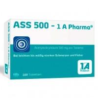 Таблетки от боли и лихорадки с ацетилсалициловой кислотой ASS 500-1A Pharma Tabletten 100 шт 1A Pharma