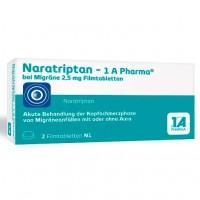 Таблетки НАРАТРИПТАН от мигрени NARATRIPTAN-1A Pharma bei Migräne 2,5 mg Filmtabl. 2 шт 1A Pharma