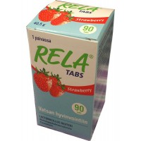 Таблетки с молочно-кислыми бактериями со вкусом клубники Rela Tabs Strawberry (жевательные таблетки) 90 таблеток Rela