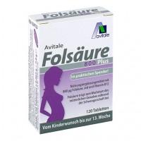 Витамины женщинам до 13 недели беременности FOLSÄURE 800 Plus B12+Jod 120 таблеток Avitale