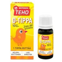 Витамин Д в каплях Teho D-tippa (1 капля 10 мкг) 8 мл Bioteekki