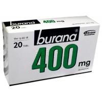 Таблетки жаропонижающие и болеутоляющие Burana 400 мг покрытые оболочкой 20 шт. Burana