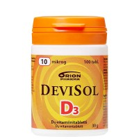Витамины D3 10 мкг D3-Vitamiini 100 таблеток Devisol