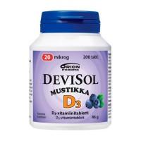 Витамин Д3 со вкусом черники DeviSol Mustikka 20 µg 200 таблеток DeviSol