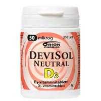 Витамины D3 50 мкг Neutral D3-Vitamiini 200 таблеток Devisol