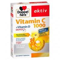 Витамин C 1000 + витамин D 800 ME DOPPELHERZ aktiv Vitamin C 1000+Vitamin D Depot 60 шт DoppelHerz