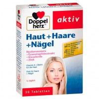 Витамины для волос и ногтей DOPPELHERZ Haut+Haare+Nägel Tabletten 30 шт DoppelHerz