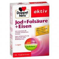Таблетки для щитовидной железы DOPPELHERZ Jod+Folsäure+Eisen Tabletten 45 шт DoppelHerz