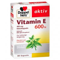 Капсулы с витамином Е DOPPELHERZ Vitamin E 600 N Weichkapseln 80 шт DoppelHerz