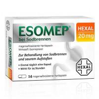 Капсулы от изжоги ESOMEP HEXAL bei Sodbrennen 20 mg magensaftr.Hkp 14 шт HEXAL