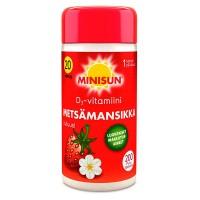Витамин Д со вкусом земляники D3 20 мкг METSAMANSIKKA жевательные таблетки 200 шт Minisun