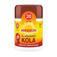 Витамин Д со вкусом колы Minisun Kola D3-vitamiini 20 µg жевательные таблетка 200 шт Minisun