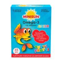 Рыбий жир для детей со вкусом фруктов Minisun Omega-3 Junior Tuttufrutti 45 шт Minisun