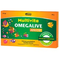 Рыбий жир для детей MULTIVITA OMEGALIVE JUNIORI GEELITABLETTI 45 капсул MultiVita