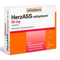 Ацетилсалициловая кислота HERZASS-ratiopharm 50 mg Tabletten 100 таблеток RatioPharm