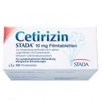 Таблетки от аллергии CETIRIZIN STADA 10 mg Filmtabletten 100 шт Stada