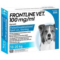 Препарат от блох и клещей для собак 10-20 кг FRONTLINE VET 100MG/ML PAIKALLISVALELULIUOS 4X1,34 мл Vetcare
