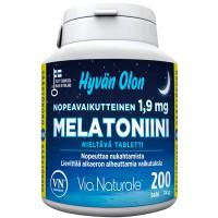 Снотворное Hyvän Olon Melatoniini 1,9 mg 200 таблеток Via Naturale