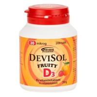 Витамины D3 20 мкг FRUITY D3-Vitamiini 200 сосательных таблеток Devisol