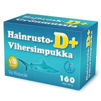 Витамины для суставов с акульим хрящем Hainrusto+vihersimpukka D+ 160 капсул Via Naturale