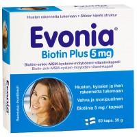 Витамины Evonia Biotin Plus 5 мг  для волос и ногтей 60 капсул Hankintatukku